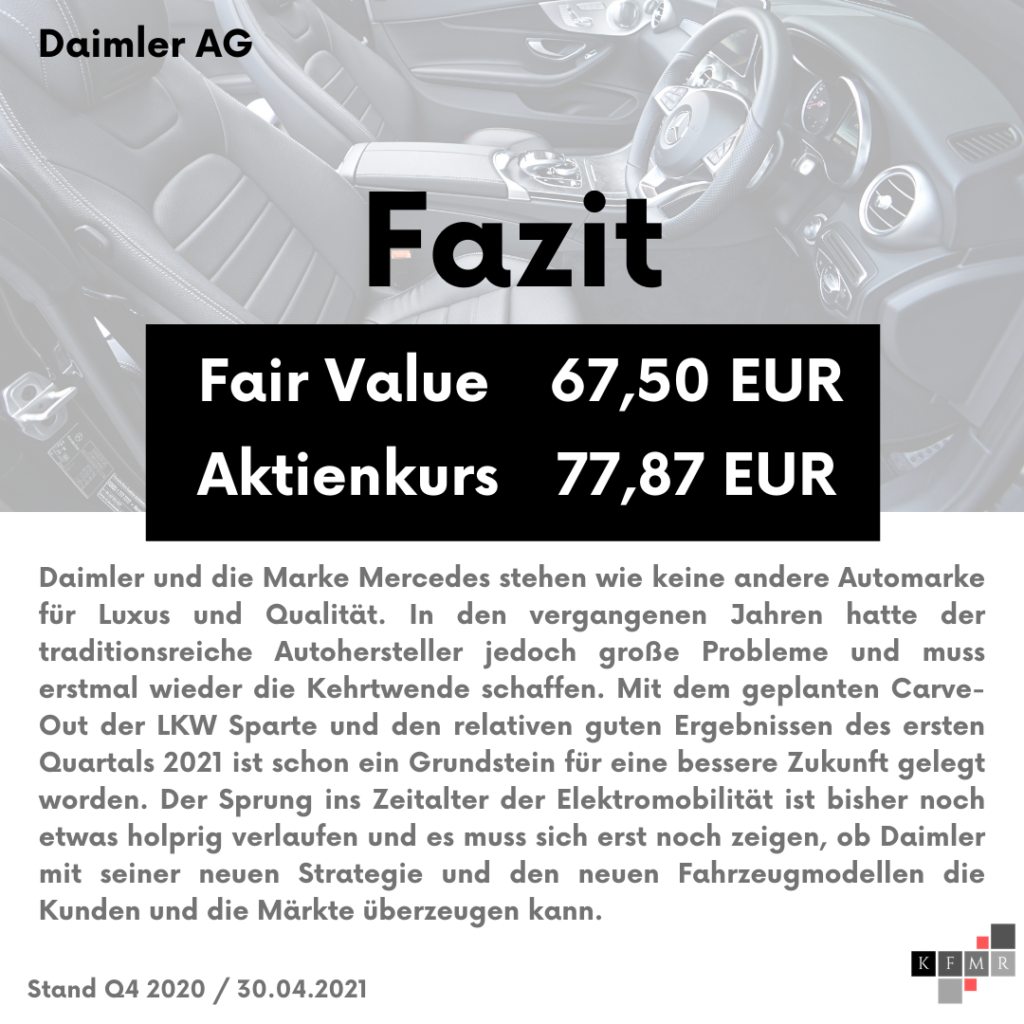 Fazit Analyse der Daimler AG Aktie