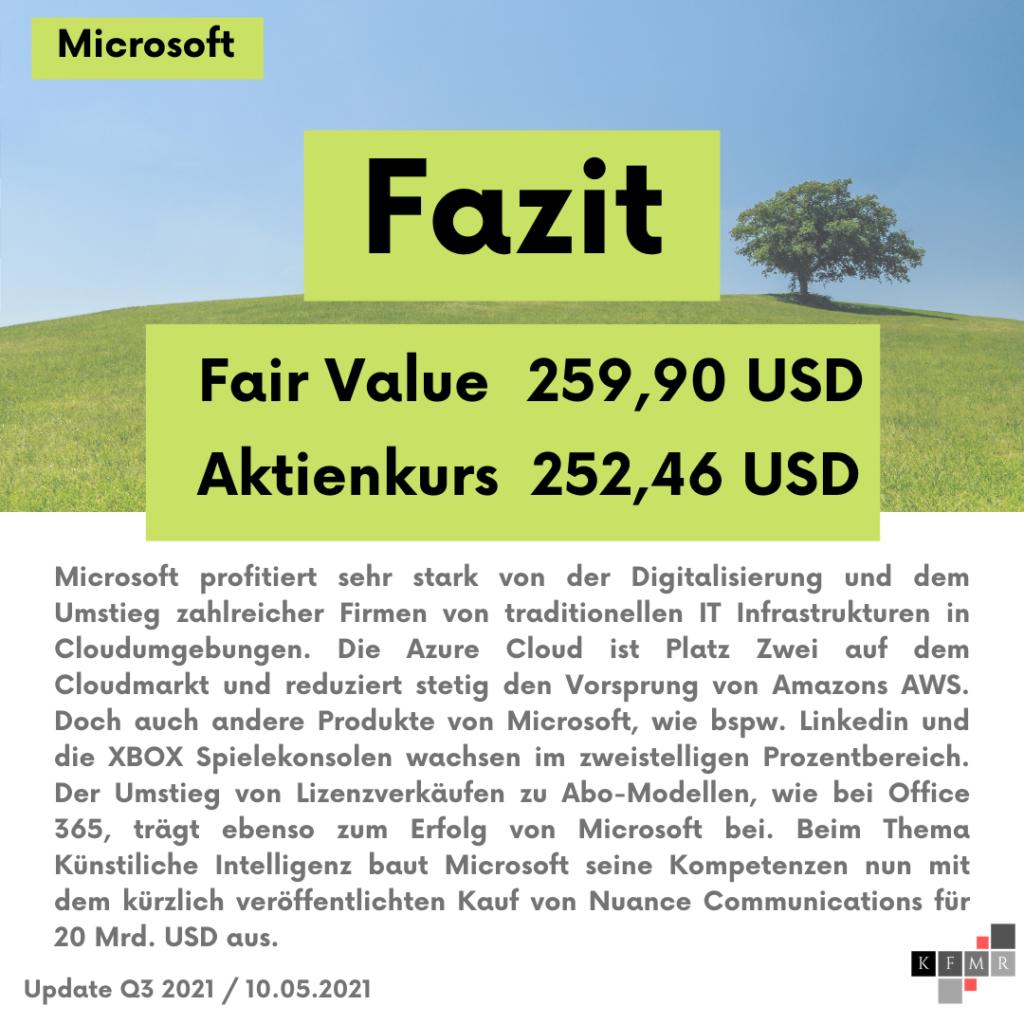Fazit Analyse der Microsoft Aktie